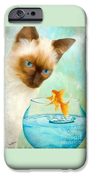 Goldfish Mixed Media iPhone Cases - Cat and Fish iPhone Case by AnaCB Studio