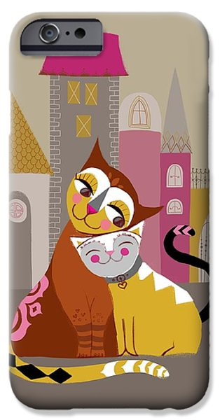 Relationship iPhone Cases - Cat And Kitten Cuddling In Front Of Row iPhone Case by Gillham Studios