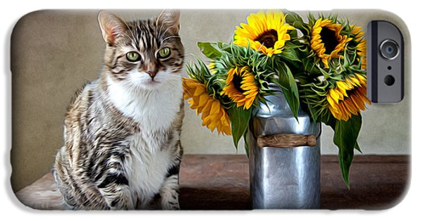 Floral Art iPhone Cases - Cat and Sunflowers iPhone Case by Nailia Schwarz