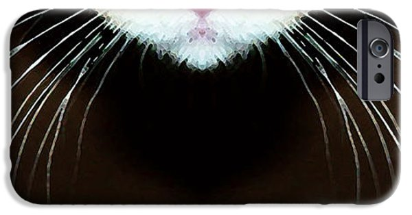Stripes iPhone Cases - Cat Art - Super Whiskers iPhone Case by Sharon Cummings