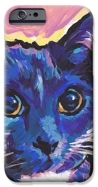 Kids Art Paintings iPhone Cases - Cat Eyes iPhone Case by Lea