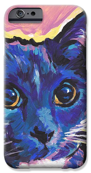 White Cat Art iPhone Cases - Cat Eyes iPhone Case by Lea