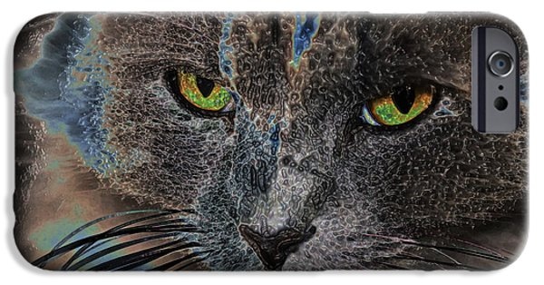 Gray Hair iPhone Cases - Cat Eyes iPhone Case by Ronnie Corn