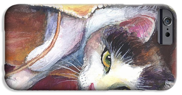 Cat Prints Drawings iPhone Cases - Cat in a bag painting iPhone Case by Svetlana Novikova