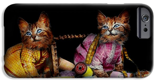 Old Blue Eyes iPhone Cases - Cat - Mischief makers 1915 iPhone Case by Mike Savad