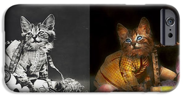 Mischief iPhone Cases - Cat - Mischief makers 1915 - Side by side iPhone Case by Mike Savad