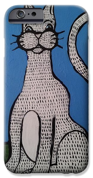 Soul Sculptures iPhone Cases - Bill cat iPhone Case by William Douglas