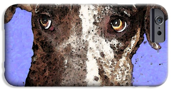 Black Dog iPhone Cases - Catahoula Leopard Dog - Soulful Eyes iPhone Case by Sharon Cummings
