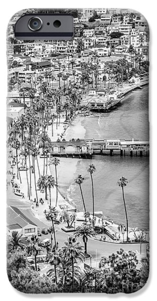 Pleasure iPhone Cases - Catalina Island Aerial Black and White Photo iPhone Case by Paul Velgos