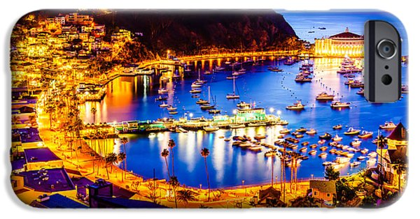 Casino Pier iPhone Cases - Catalina Island Avalon Bay at Night iPhone Case by Paul Velgos