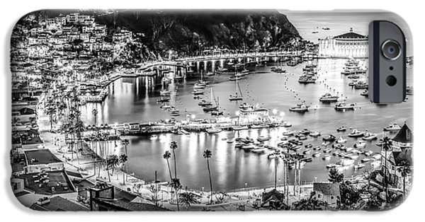 Casino Pier iPhone Cases - Catalina Island Avalon Bay Black and White Picture iPhone Case by Paul Velgos