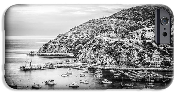 Morning iPhone Cases - Catalina Island Black and White Photo iPhone Case by Paul Velgos