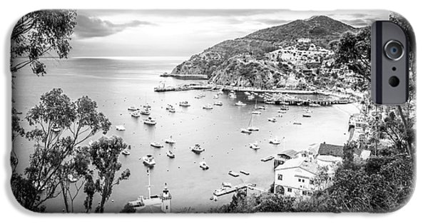 Morning iPhone Cases - Catalina Island California Black and White Photography iPhone Case by Paul Velgos