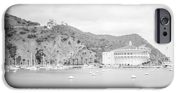 Santa iPhone Cases - Catalina Island Panorama in Black and White  iPhone Case by Paul Velgos