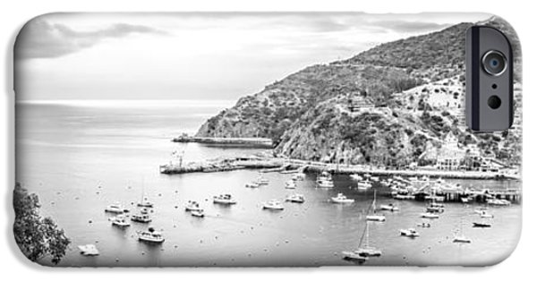 Morning iPhone Cases - Catalina Island Panoramic Black and White Photo iPhone Case by Paul Velgos