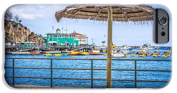 Casino Pier iPhone Cases - Catalina Island Straw Umbrella Picture iPhone Case by Paul Velgos