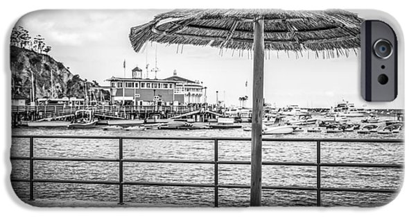 Casino Pier iPhone Cases - Catalina Island Umbrella in Black and White iPhone Case by Paul Velgos
