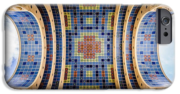 Wrigley iPhone Cases - Catalina Island Wrigley Memorial Tiled Ceiling iPhone Case by Paul Velgos