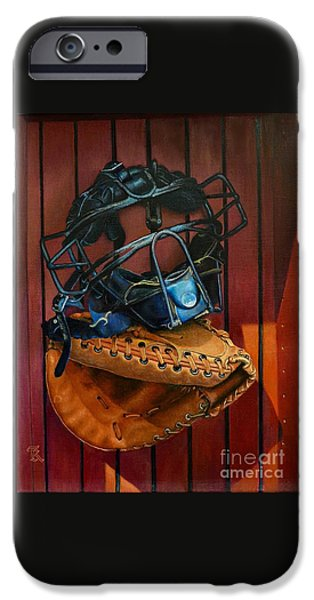 Softball Paintings iPhone Cases - Fond memories iPhone Case by Ralph Taeger