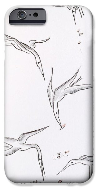 Feed Drawings iPhone Cases - Catching the Crumbs iPhone Case by Barbara Chase