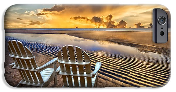 Adirondack Chairs On The Beach iPhone Cases - Catching the Dawn iPhone Case by Debra and Dave Vanderlaan
