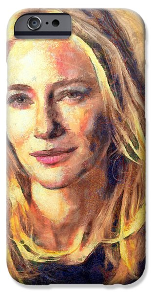 Figure iPhone Cases - Cate Blanchett iPhone Case by Nikola Durdevic