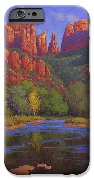 Sedona Paintings iPhone Cases - Cathedral Morning iPhone Case by Cody DeLong