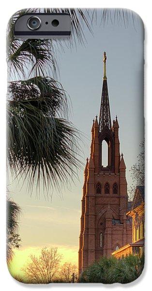 Catholic Church iPhone Cases - Cathedral of Saint John the Baptist Charleston iPhone Case by Dustin K Ryan