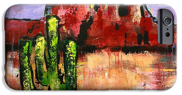 Red Abstract iPhone Cases - Cathedral Rock iPhone Case by Kayla Mallen