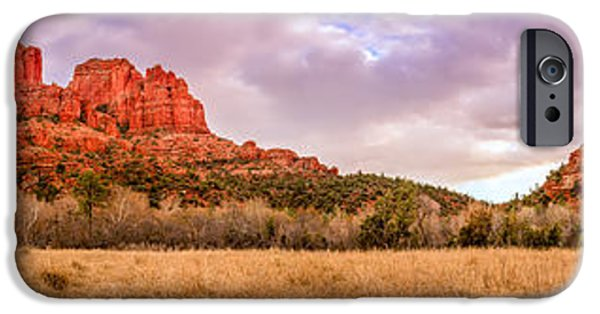 Cathedral Rock iPhone Cases - Cathedral Rock panorama iPhone Case by Alexey Stiop