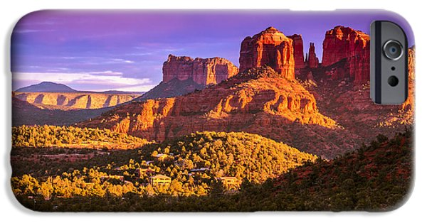 Sedona iPhone Cases - Cathedral Rock sunset iPhone Case by Alexey Stiop