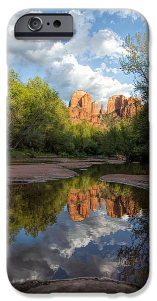 Recently Sold -  - Sedona iPhone Cases - Cathedral Rocks Sunset Reflection iPhone Case by Larry Pollock