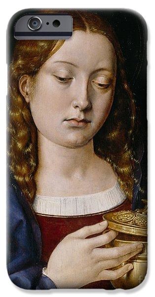 Ruler iPhone Cases - Catherine of Aragon as the Magdalene iPhone Case by Michiel Sittow