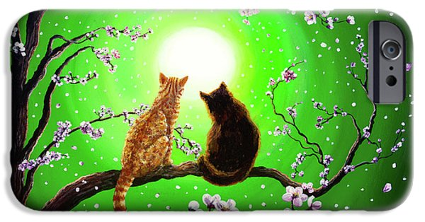Asian iPhone Cases - Cats on a Spring Night iPhone Case by Laura Iverson