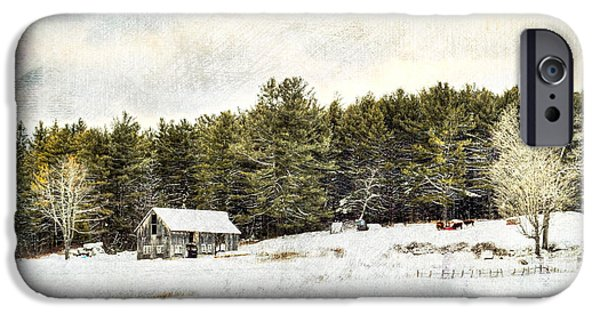 Snow iPhone Cases - Cattle At The Feeder - Textured iPhone Case by Geoffrey Coelho
