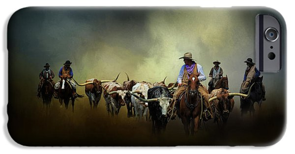 Horse iPhone Cases - Cattle Drive at Dawn iPhone Case by David and Carol Kelly