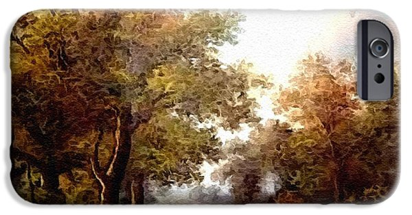 Business Pastels iPhone Cases - Cattle In The Path H a iPhone Case by Gert J Rheeders
