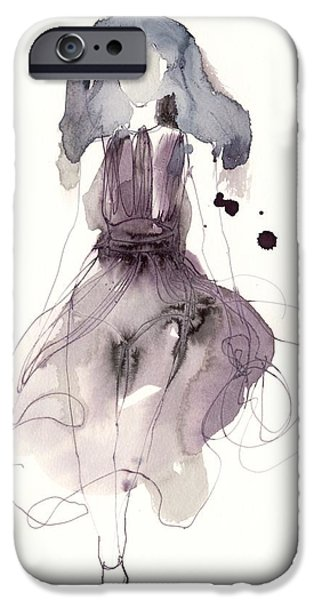 Cat Drawing Drawings iPhone Cases - Catwalk iPhone Case by Toril Baekmark