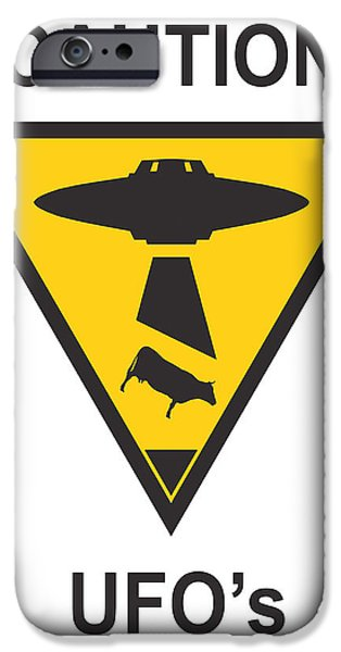 Caution ufos iPhone Case by Pixel Chimp