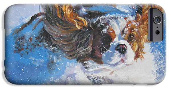 King iPhone Cases - Cavalier King Charles Spaniel blenheim in snow iPhone Case by L A Shepard