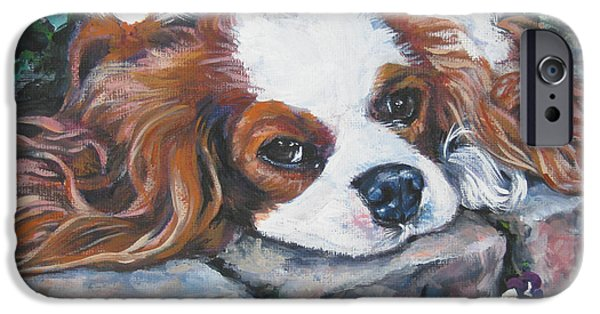 Pansy iPhone Cases - Cavalier King Charles Spaniel in the pansies  iPhone Case by Lee Ann Shepard