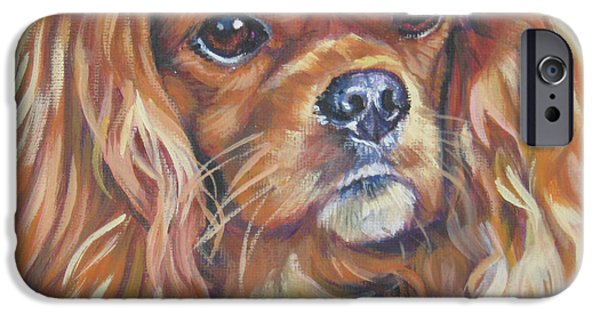 Puppies iPhone Cases - Cavalier King Charles Spaniel ruby iPhone Case by Lee Ann Shepard