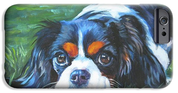 King iPhone Cases - Cavalier King Charles Spaniel tricolor iPhone Case by Lee Ann Shepard