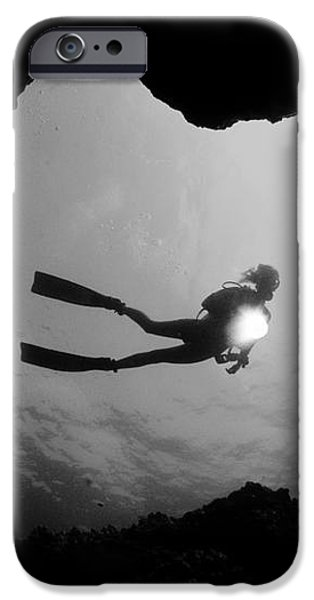 Cave Diver - BW iPhone Case by Dave Fleetham - Printscapes