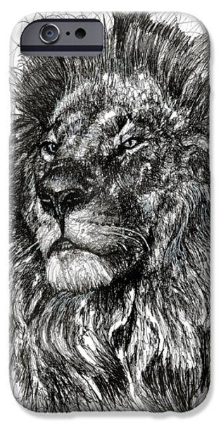 African Animal Drawings iPhone Cases - Cecil The Lion iPhone Case by Michael  Volpicelli