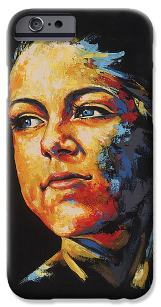 Sun Rays Paintings iPhone Cases - Cecilie iPhone Case by Konni Jensen