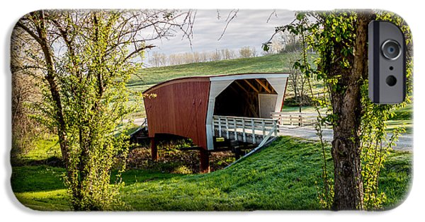 Recently Sold -  - Covered Bridge iPhone Cases - Cedar Covered Bridge Framed by Two Trees #8458 iPhone Case by Jeffrey Henry