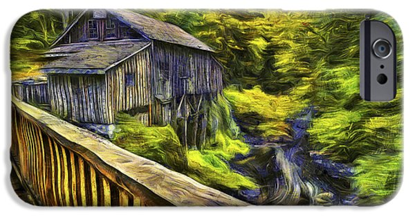 October iPhone Cases - Cedar Creek Grist Mill Van Gogh iPhone Case by Mark Kiver
