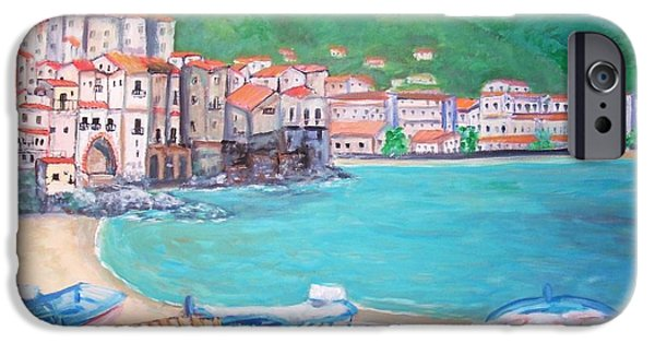 Sicily Paintings iPhone Cases - Cefalu in Sicily iPhone Case by Teresa Dominici