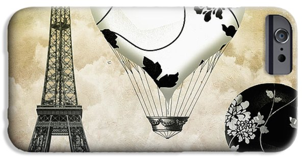 Hot Air Balloon iPhone Cases - Ceil Jaune II Vintage Hot Air Balloon iPhone Case by Mindy Sommers